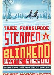 Twee fonkelrode sterren in de blinkend witte sneeuw -
